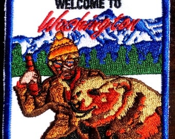 Hipster, Welcome to Washington, Grizzly Bear, Beard, Man Cave, Evergreen State, Cascade Mountain Range, Hamms, Beer, Vintage, Retro, Patch