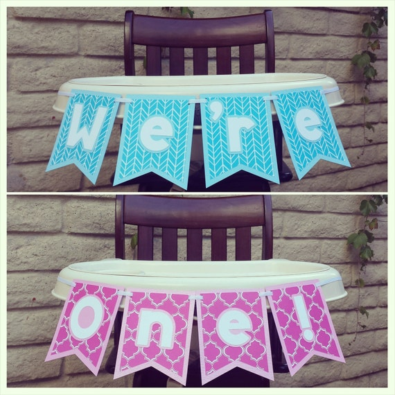 First Birthday Banner High Chair Banner Twins By