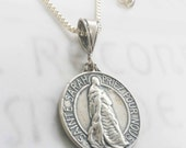 Necklace - Sainte Sarah & Saintes Maries Sterling Silver - 23mm - 18 inch Box Chain