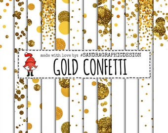 GOLD CONFETTI digital paper pack with gold and glitter circels for scrapbooking, cards, etc (1163)