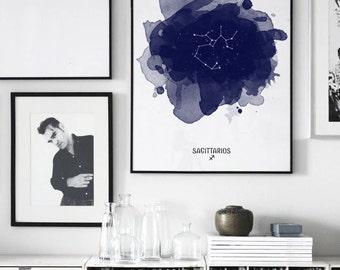Sagittarius Constellation, Zodiac Constellation, Sagittarius zodiac, Stars constellation, Astrology print, Astrology Watercolor print