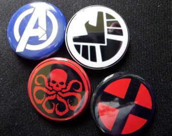 Marvel - Avengers, Hydra, Shield, and X-men- Buttons