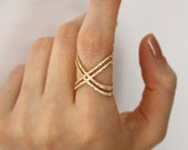 Gold X Ring with Cz Stones / Engagement Ring / Criss Cross Ring / Gold X Ring  / Silver Thin CZ ring / Mother's Day Gift  / Cross Cross Ring