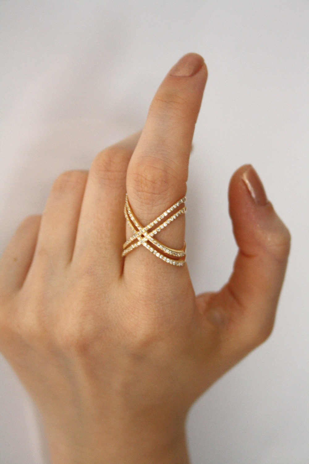 Gold X Ring With Cz Stones Engagement Ring Criss Cross