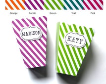Striped Popcorn Boxes - Set of 6 - Personalized Popcorn Boxes - Favor Box - Popcorn Box - Striped Box - Choice of Color