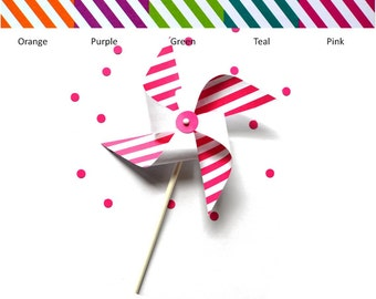 Striped Pinwheels - Set of 6 - Pinwheel Cupcake Toppers - Pinwheels - Pinwheel Favors - Party Favors