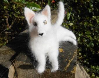 Ready to ship! Needle Felted White Shepherd. swiss shepherd puppy soft sculpture. dog miniature