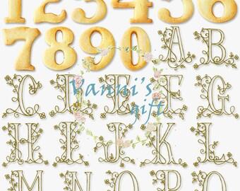 36 Floral Biscuit Letters Alphabet Number Wedding Digital Download Scrapbooking Clip Art c32