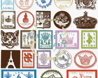 48 Vintage Postal Stamp Digital Download Scrapbooking Clip Art c54