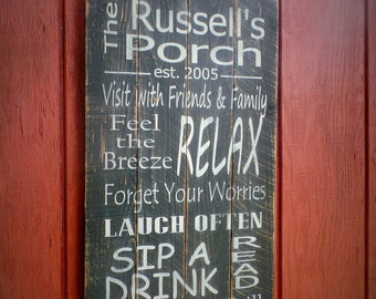 Personalized Porch Rules Wood Sign Pallet Wooden Sign Rustic Porch Rules Sign Christmas gift 14x24