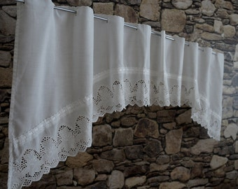 Vintage white short curtain cotton net chrochet rod window for Decoration anglaise