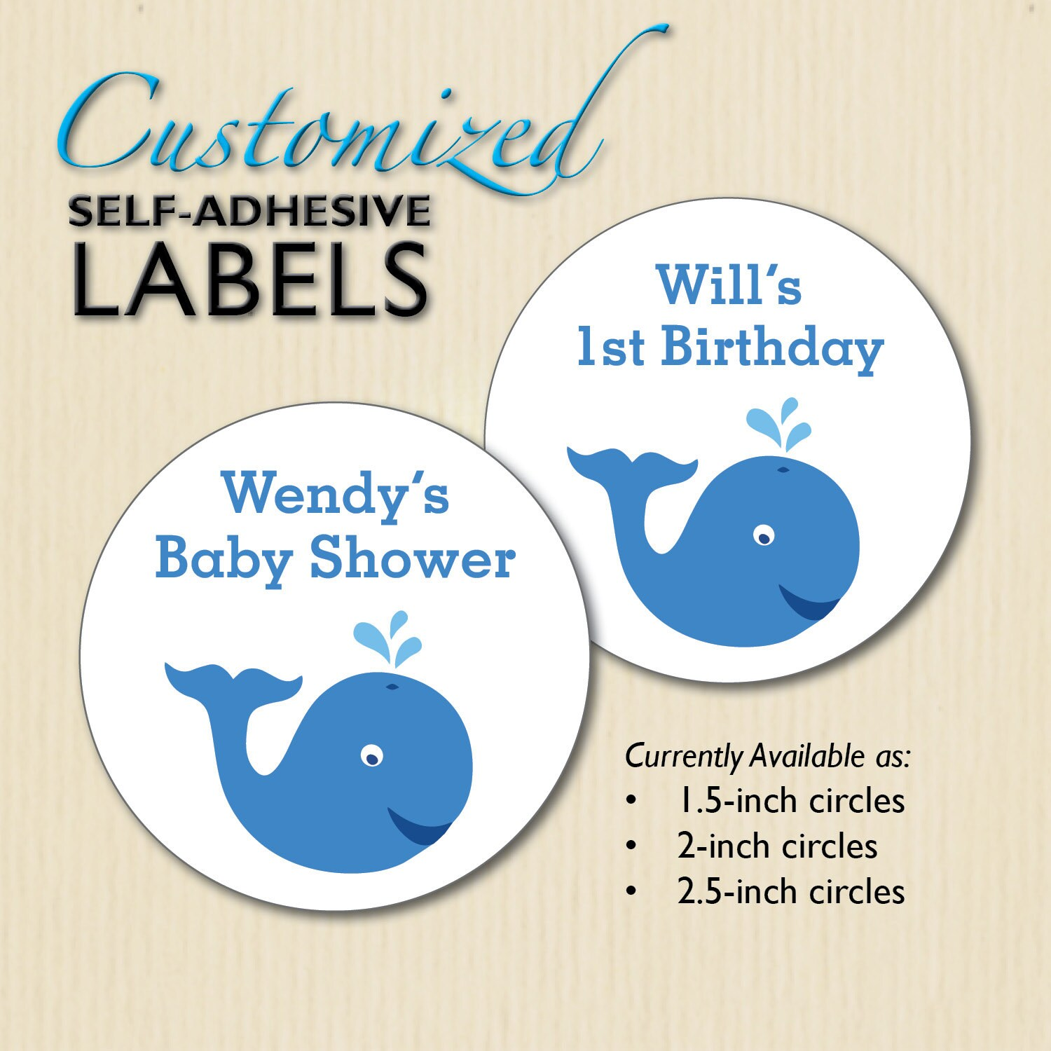 Baby Shower Stickers For Favors: Custom WHALE Baby Shower Stickers Favor Bag Labels Candy