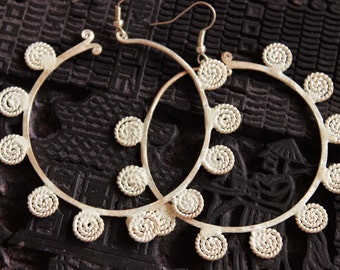 Handmade Hmong Hoop Tribal Earrings Light Hill Tribe Dangle Drop Loop Large
