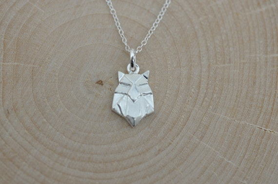 Sterling Silver Origami OWL Necklace Origami by JamberJewels - photo#3