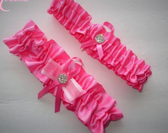 Pink Garter Set, Keepsake and Toss-away Garter Set, Ribbon Garter, Prom Garter, Pink Garter, Bridal Garter, Wedding Garter