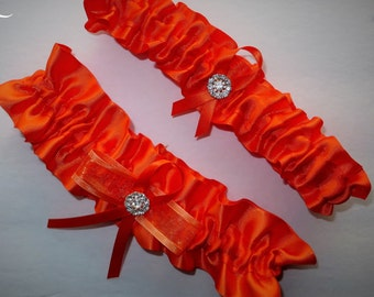 Orange Garter Set, Wedding Garter, Bridal Garter, Keepsake Garter, Toss Away Garter, Prom Garter, Costume Garter, Garter