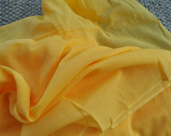 Very soft voile fabric scarf mulmul Lining Yellow sheer voile cotton by yard