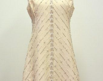 Vintage 1960's Beaded Champagne Dress