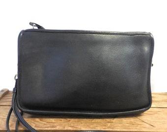 Coach Vintage Black Leather Mimimalist Wristlet Clutch Bag Shoulder Purse - Made in New York City USA
