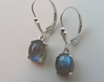 Labradorite Earrings, Sterling Silver, Leverback Earrings, 9x7mm Labradorite Gemstones, Natural Labradorite Jewelry, Cabochon Earrings