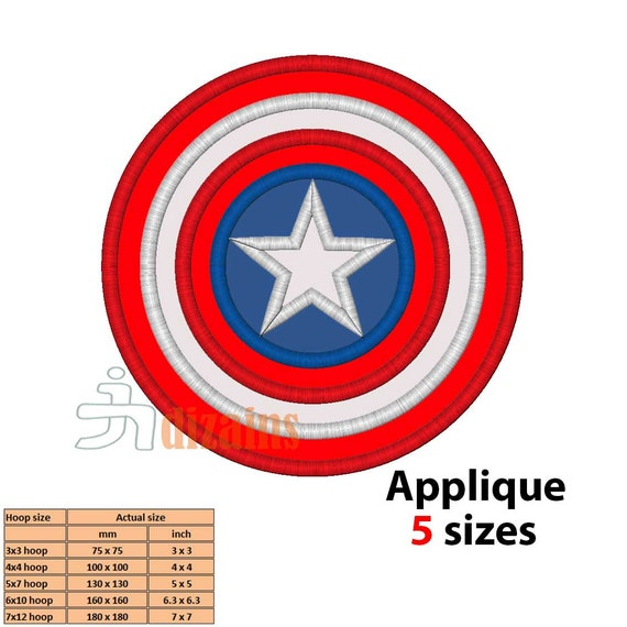 CAPTAIN AMERICA Applique Machine Embroidery Design By
