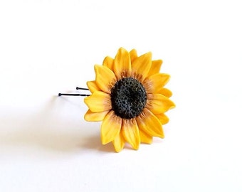 Large Sunflower Hairpin. Big Sunflower Hairpin . Sunflower Hair Clip . Summer Hair Accessories, Yellow Flower Hair pin, Wedding Hair Flower
