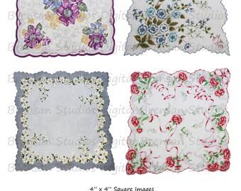 "4"" Vintage Hankies - Sheet 3 of 3,  4inch Squares, 4 images, Instant Download Digital Collage Sheet of Vintage Handkerchiefs"