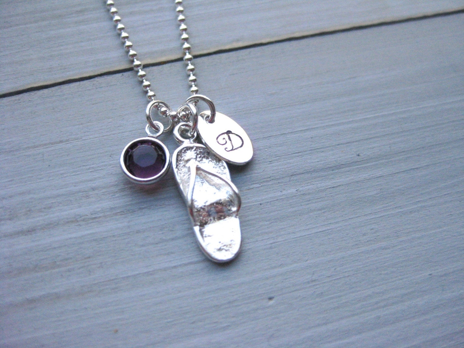 flip flop necklace sterling silver beach necklace beach. Black Bedroom Furniture Sets. Home Design Ideas