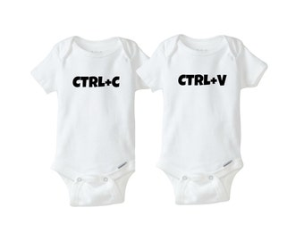 Ctrl+C Ctrl+V | Copy and Paste | Twin Onesies | Baby Shower Gifts