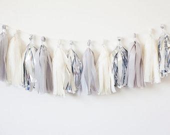 Ivory, Silver, Grey Tassel Garland (15)