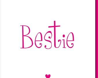 Bestie Birthday Card Bestie Card Best Friends BFF