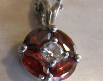 Garnet and CZ Sterling Silver Delicate Pendant and Chain