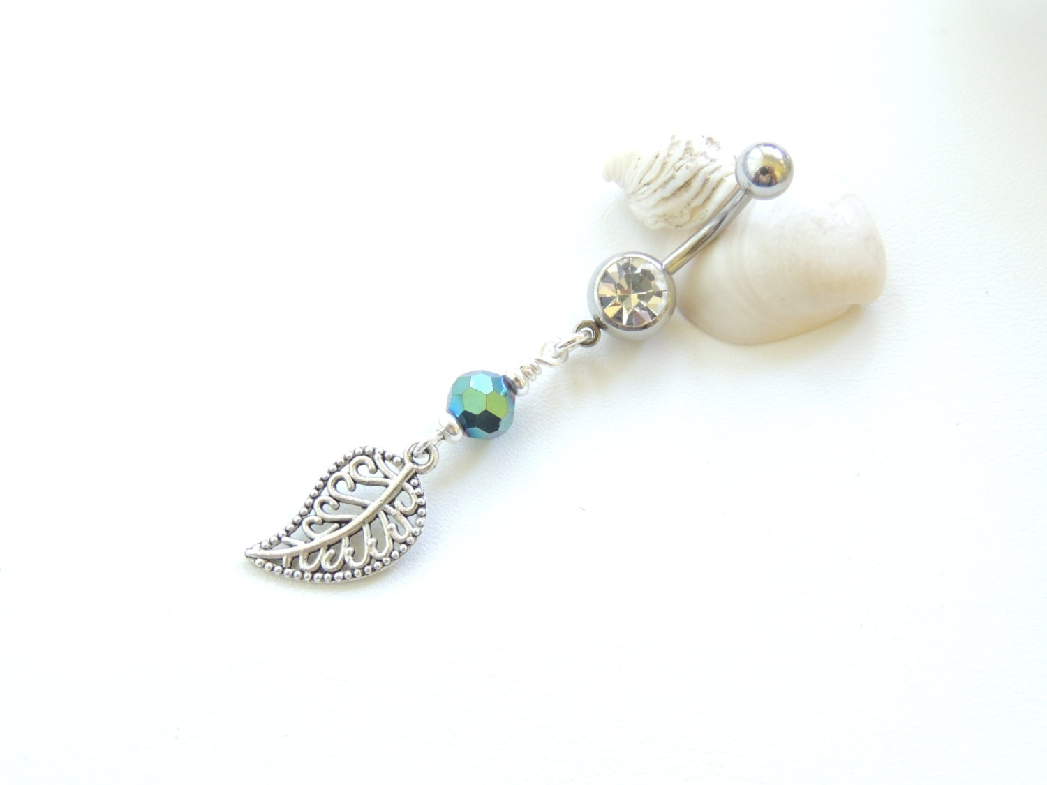 silver leaf belly button ring belly button jewelry 14g