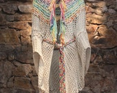 Crochet poncho, crochetted wrap, fringes poncho, spring summer cover up, colorful poncho