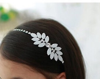Flower rhinestone headband, Flower girl headband, White Rhinestone headband, beaded headband, birthday girl headband, Rhinestone headband