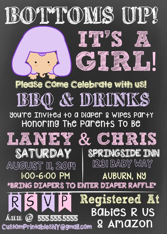 Bottoms Up Baby Shower invitation bottoms up by ...