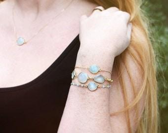 Aqua blue chalcedony Drop bracelet // bezel bracelet