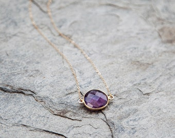 SALE 50% OFF! Amethyst and gold filled chain Raindrop necklace