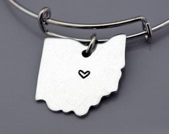 Ohio Bangle Ohio State Map Charm Ohio State Silhouette Ohio Us Map