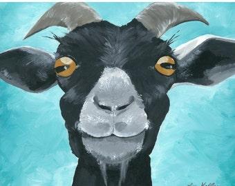 Goat art, goat decor.  Goat print from original goat painting