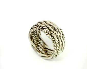 Woven Silver Rope Band Ring made from Sterling Silver with Delicately Carved Ropes Wrapped in Band // Size: 7