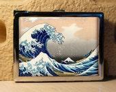 Chrome Finished Lighter.Cigarette case Hokusai Great Wave