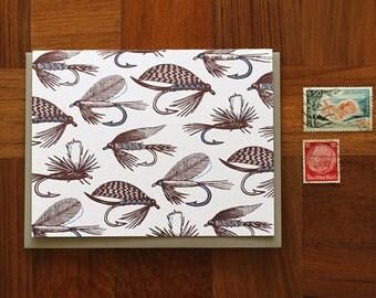 Fishing flies, Letterpress Note Card, Blank Inside