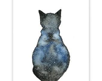 Astro Cat Art Print, Small Art Print, Cat Print, Wall Art, Art Print, Nursery Art, Cat Illustration, Water Colour Print, Cat Art, Cat