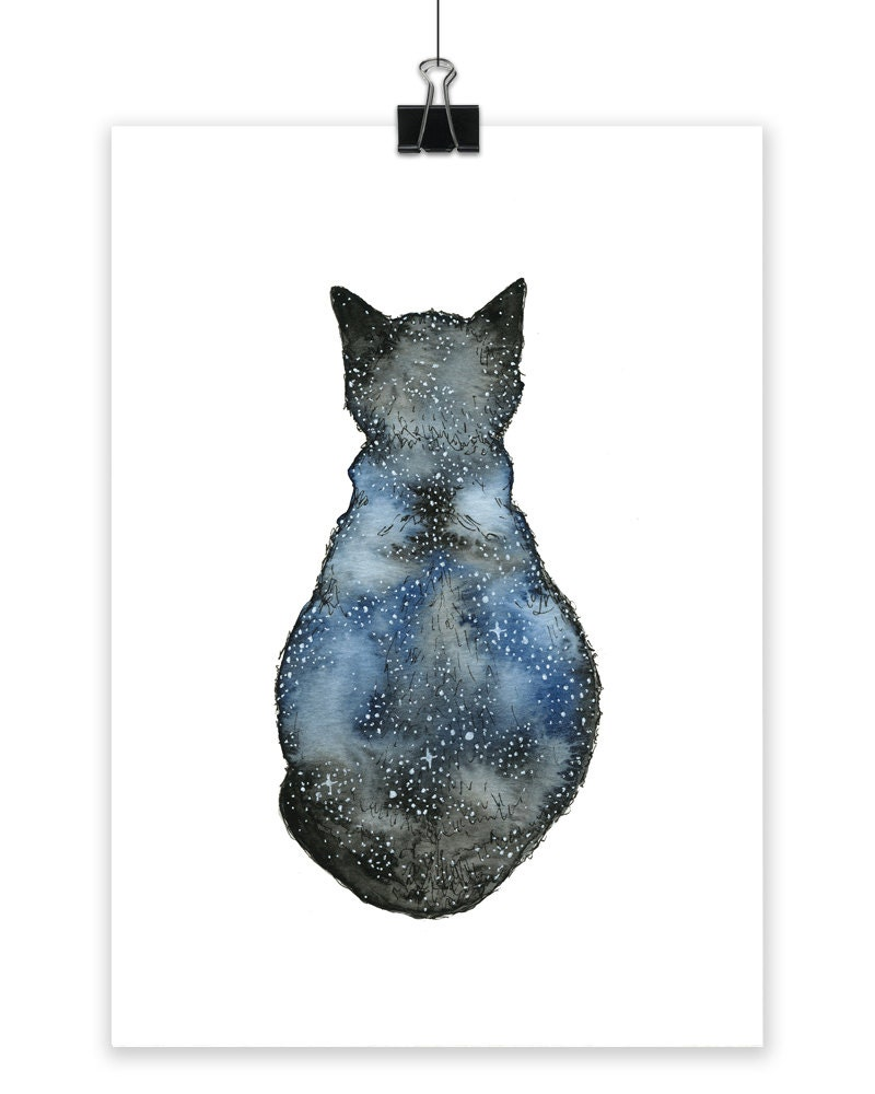 Astro cat art print small art print cat print wall art art for Small wall art
