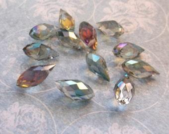 Swarovski 12 mm teardrop briolette rainbow  multicolor teardrop 6 beads