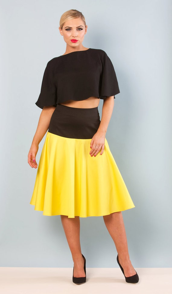 fit flare colour block midi skirt by absolutelywaisteduk