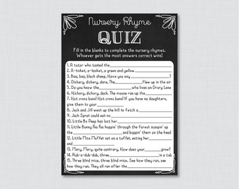 Chalkboard Nursery Rhyme Quiz Baby Shower Game - Printable Instant Download -  Chalkboard Baby Shower Game with White Accents - 0026-W
