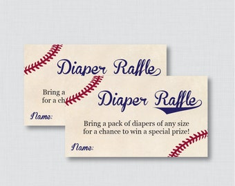 Baseball Baby Shower Diaper Raffle Tickets and Diaper Raffle Sign - Printable Vintage Baseball Diaper Raffle Cards and Sign - 0027