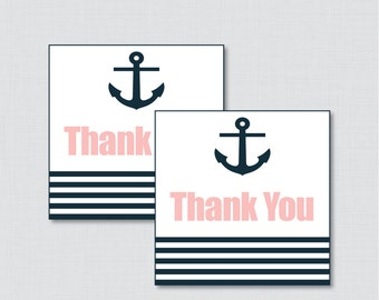 Printable Nautical Baby Shower Favor Tags Thank You Tag in Pink and Navy - Instant Download - Anchor Stripes Nautical Girl 0029-P